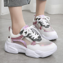 Women Breathable Sneakers New Style Mesh Ventilated Muffin Platform Dorky Dad Lace Up Soft Ultra Light Ladies A53