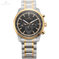 KS Automatic 6 Hands Date Day Golden Silver Tone Steel Bracelet Band Mechanical Watch Men Gents