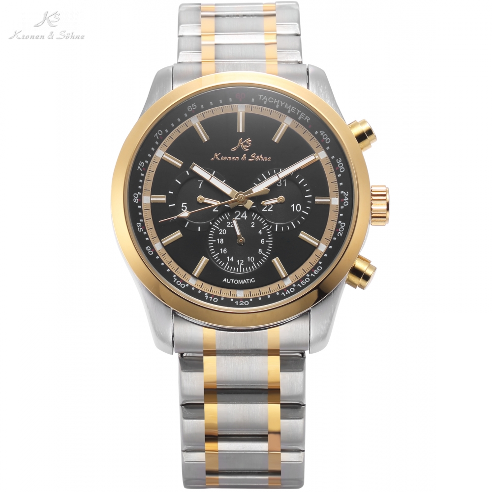 где купить KS Automatic 6 Hands Date Day Golden Silver Tone Steel Bracelet Band Mechanical Watch Men Gents Business Wristwatch Gift / KS310 по лучшей цене
