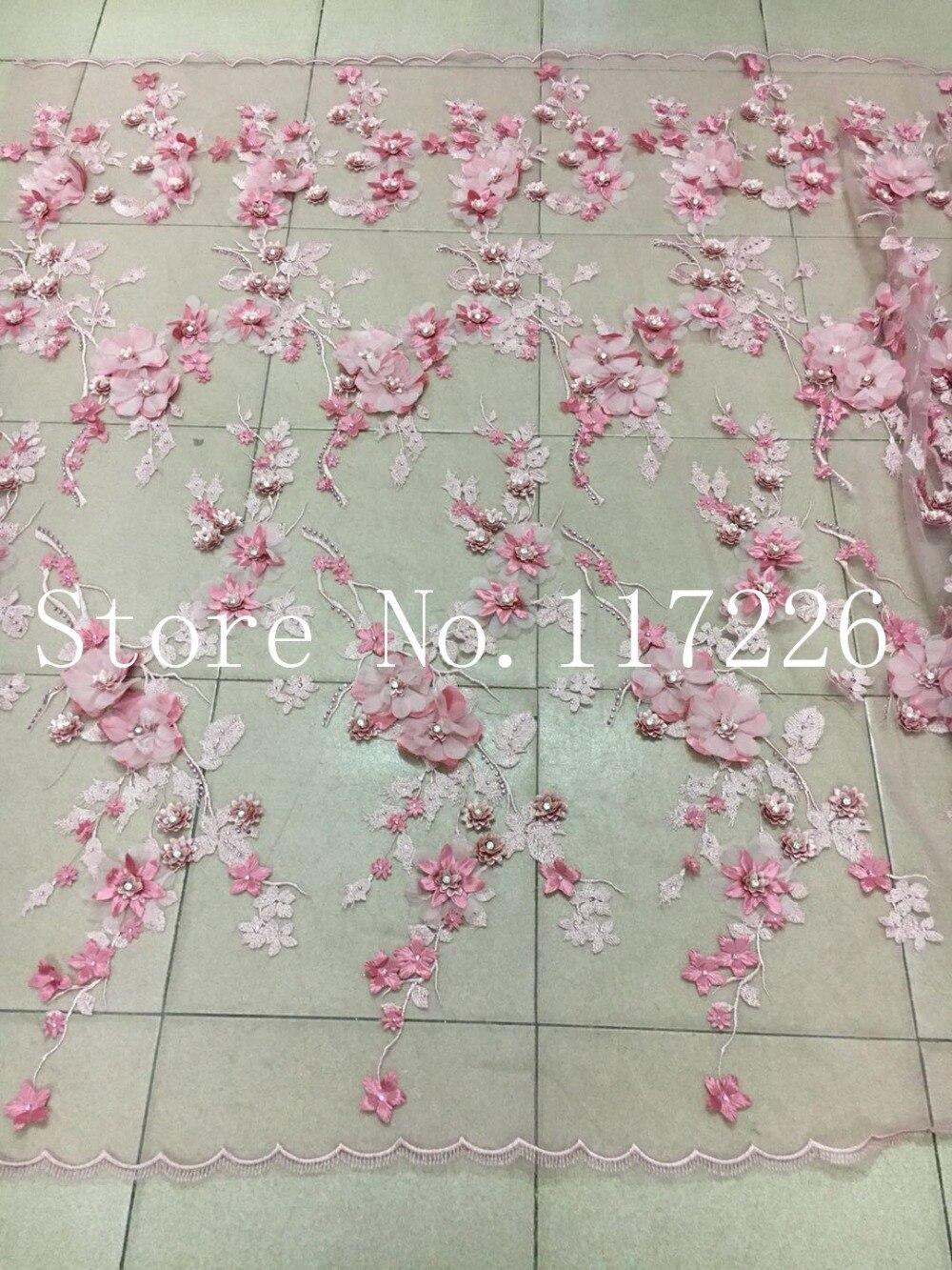 Tissu de dentelle à la mode 3d fleur tissu de dentelle française avec des perles de verre et de grandes pierres - 5