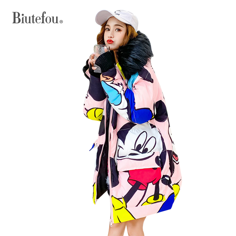 2018 New arrival Biutefou brand women winter thick hooded coats cartoon print fur collar long   Parkas