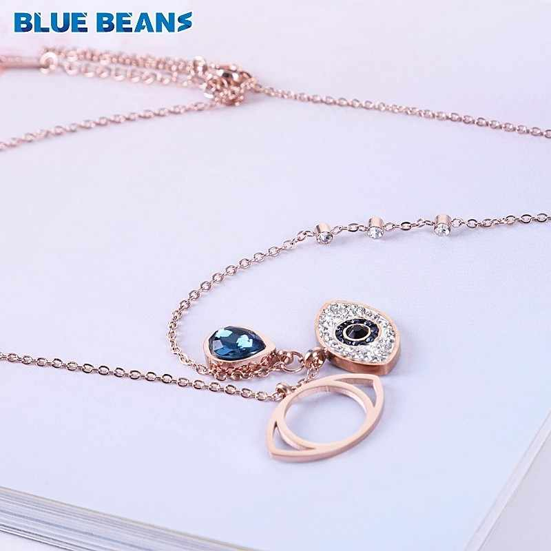 Necklace Stainless Steel Rose Gold Color Chain Women Blue Crystal Evil Eye Necklaces Pendants CZ Jewelry retro long accessories