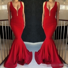 Red Mermaid Evening Dress 2019 robe de soiree Long Prom dresses On Sale Glamorous False Perspective Deep V Sleeveless Exposed