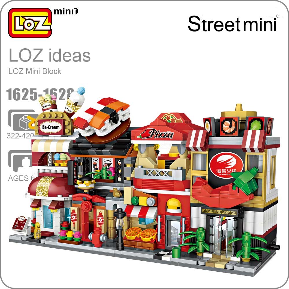 LOZ Mini Blocks Building Blocks Architecture DIY Bricks City Series Mini Street Model Store Shop Assembly Toy Kid Gift 1625-1628 loz lincoln memorial mini block world famous architecture series building blocks classic toys model gift museum model mr froger