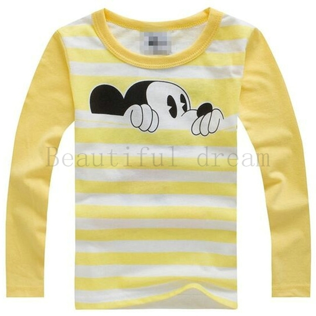 5b2de255 Kids T Shirt Autumn Winter Mouse Cartoon Long Sleeve Baby Boys Girls T-Shirt  Children