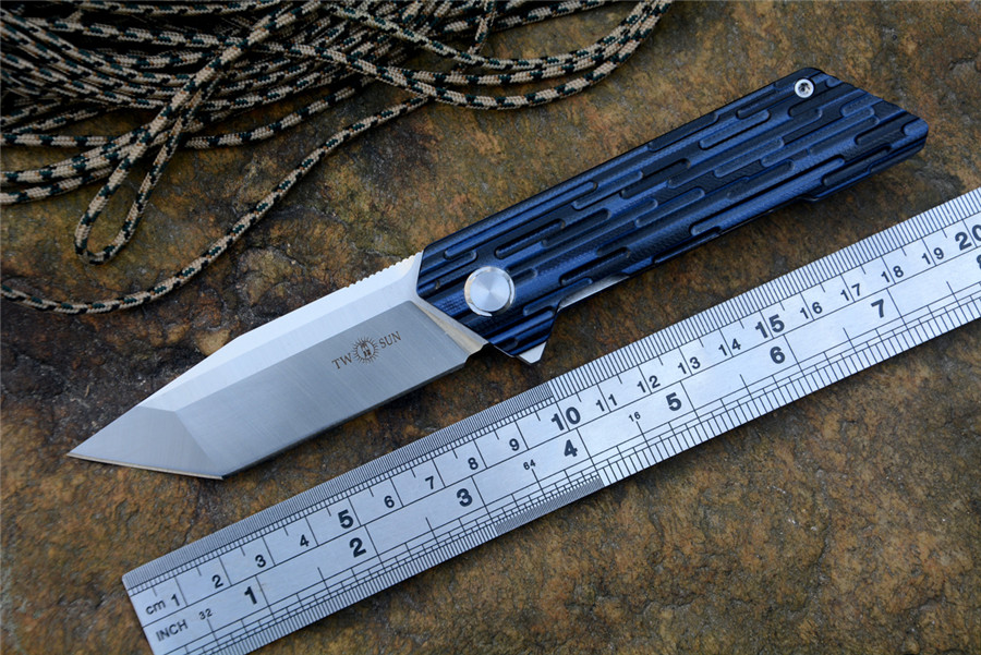 TWOSUN TS38G10 Flipper folding knife D2 Satin blade ceramic ball bearing washer outdoor camping hunting knife