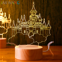 3D Night Lamp Wooden Stand Lamp Nordic Wind Decorative Lamp Birthday Gift Lamp Valentine's Day Gift Fairy Tales Castle Animal