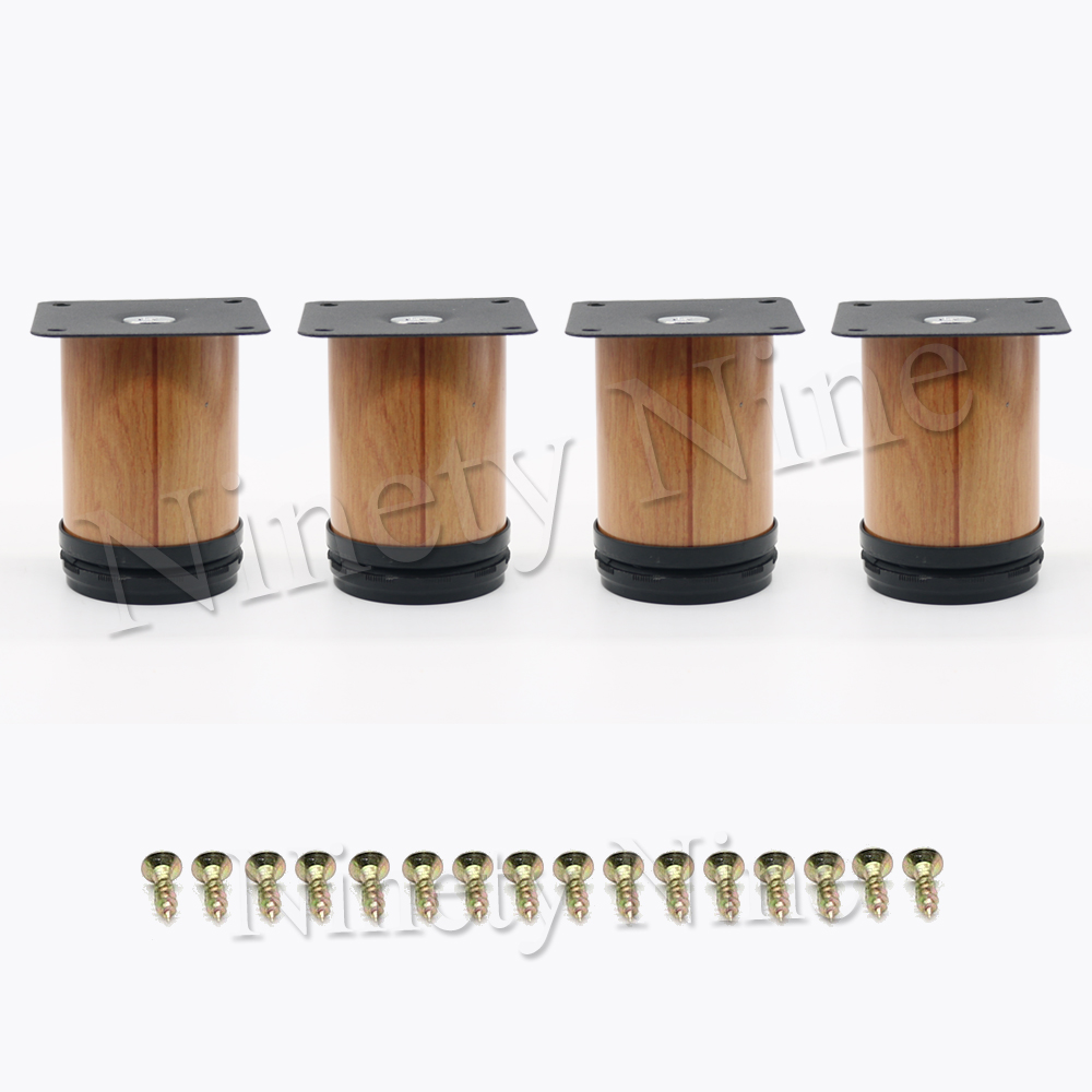 4Pcs Wood Grain Furniture Cabinet Metal Legs Adjustable Stainless Steel Kitchen Feet Round Soft Table 64*80 64x100mm + 16x Screw