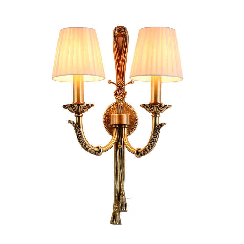 Американский кантри полностью медные Настенные светильники роскошная вилла гостиная спальня настенный светильник Искусство ручной работы Чистый медный Настенный бра