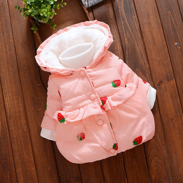 Toddler Kid Girl Winter Padded Pom cute Cotton Hooded Coat Warm Jacket Outerwear baby boy winter clothes