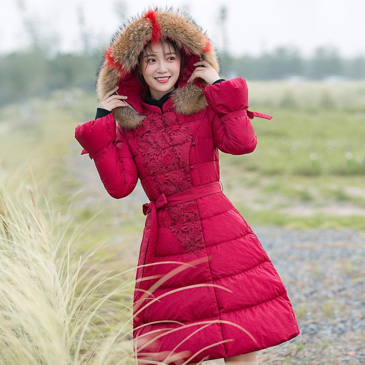 Winter Warm Coat Women's New Duck Down Parka Ladies Temperament Real Fur Collar Thick Plush Warm Coat Long Overcoat Hooded Coats Supplement The Vital Energy And Nourish Yin