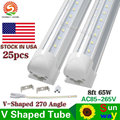 T8 Integrated Cooler Door 8ft 2.4m 2400mm 65W Led T8 V shaped LED Tube SMD2835 384pcs led 85-265V fluorescent lighting 25Pcs