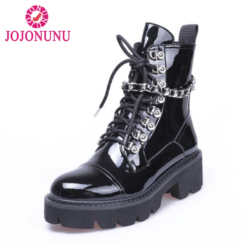 JOJONUNU Women High Heels Ankle Boots Winter Lace Up Patent Leather Platform Shoes Woman Designer Gothic Boots Size 34-39JOJONUNU Women High Heels Ankle Boots Winter Lace Up Patent Leather Platform Shoes Woman Designer Gothic Boots Size 34-39