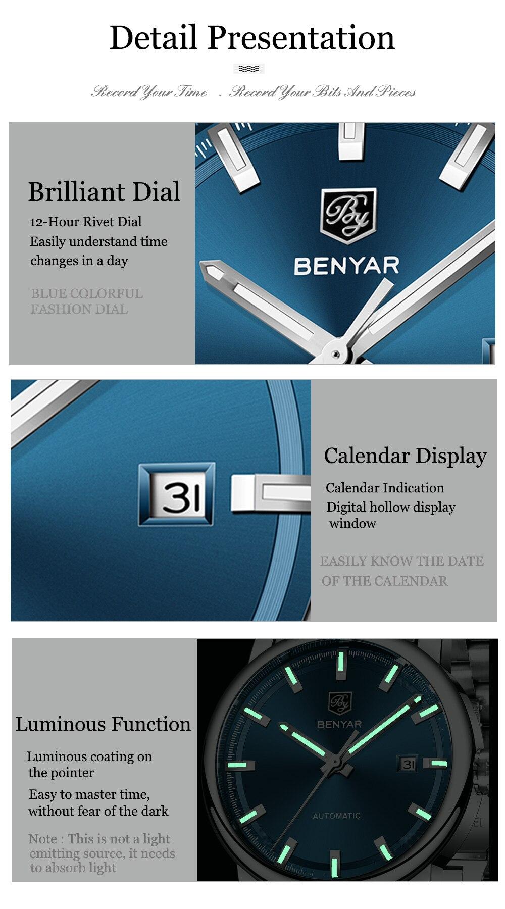 HTB1MQaba3aH3KVjSZFpq6zhKpXak New BENYAR Men's Mechanical Watches Automatic Mens watches Top Brand Luxury watch men WristWatch Military Relogio Masculino 2019