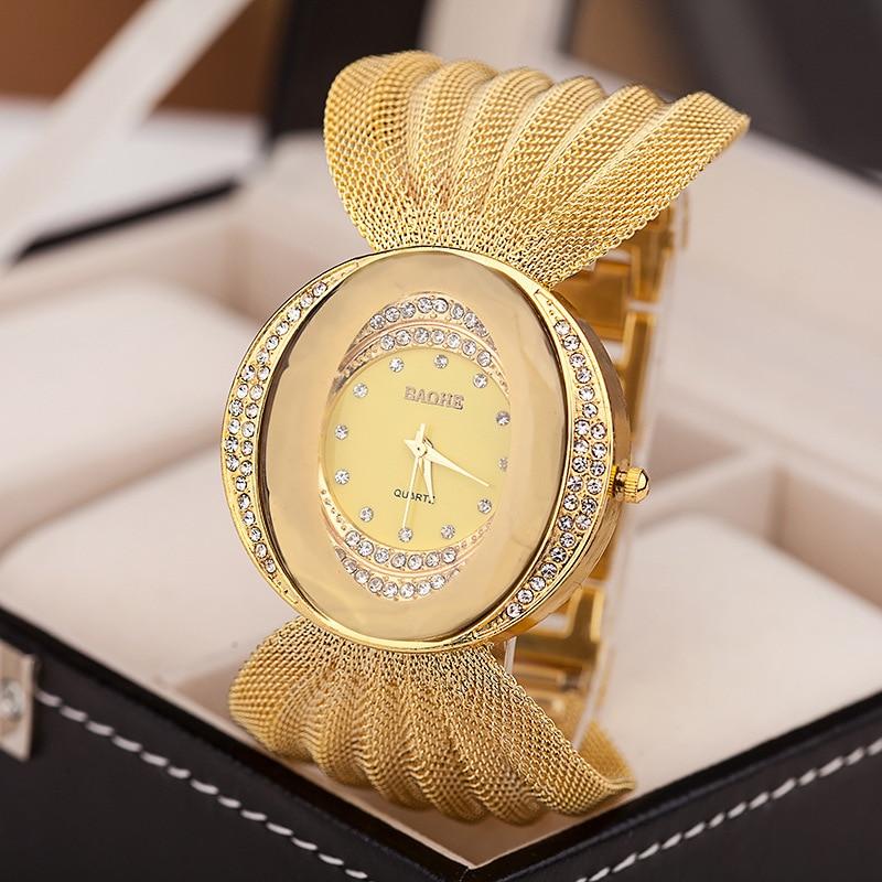 Mesh wrist watch oval gold bracelet alloy quartz watch for women dress watches rhinestone women's watches wholesale wristwatches