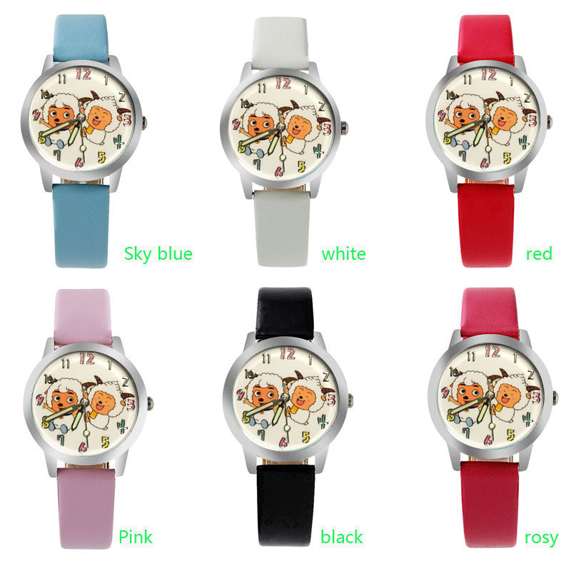 White Pink Sheep Cartoon Anime Children's Watch Casual Crystal Leather Girl Boy Luminous Clock Bracelet Watch Relogio Feminino