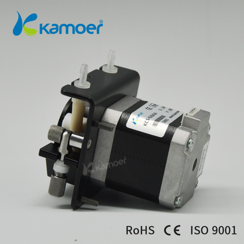 small peristaltic pump with 24 V stepper motor mini electric water pump 24V with high precision dosing pump (L) Kamoer KCS toothed belt drive motorized stepper motor precision guide rail manufacturer guideway