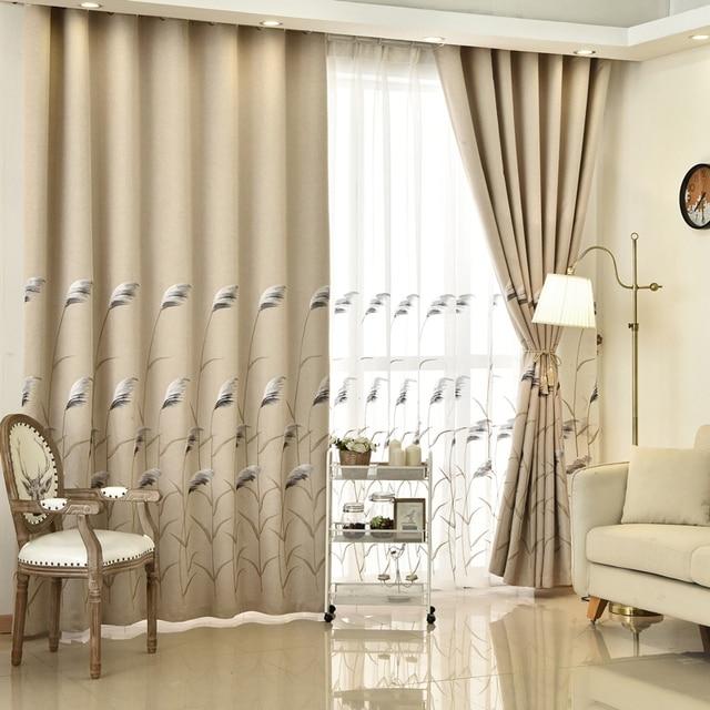 Moderne Luxus Bestickt Hohe Shading Vorhänge Wohnzimmer Dekoration Fenster  Vorhang Schlafzimmer Beige Stoff Stickerei Reed