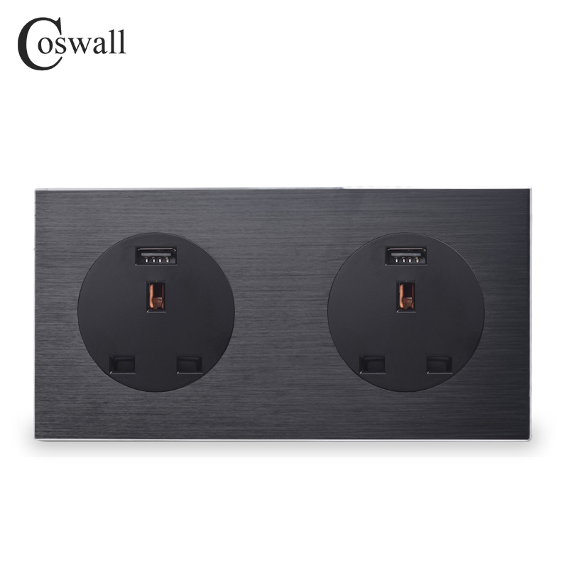 Coswall Aluminum Metal Panel Double 13A Wall Outlet UK Power Socket With Dual USB Fast Charging Port 171mm*86mm R12 Series british mk british unit power supply socket metal 13a power outlet british standard unit socket