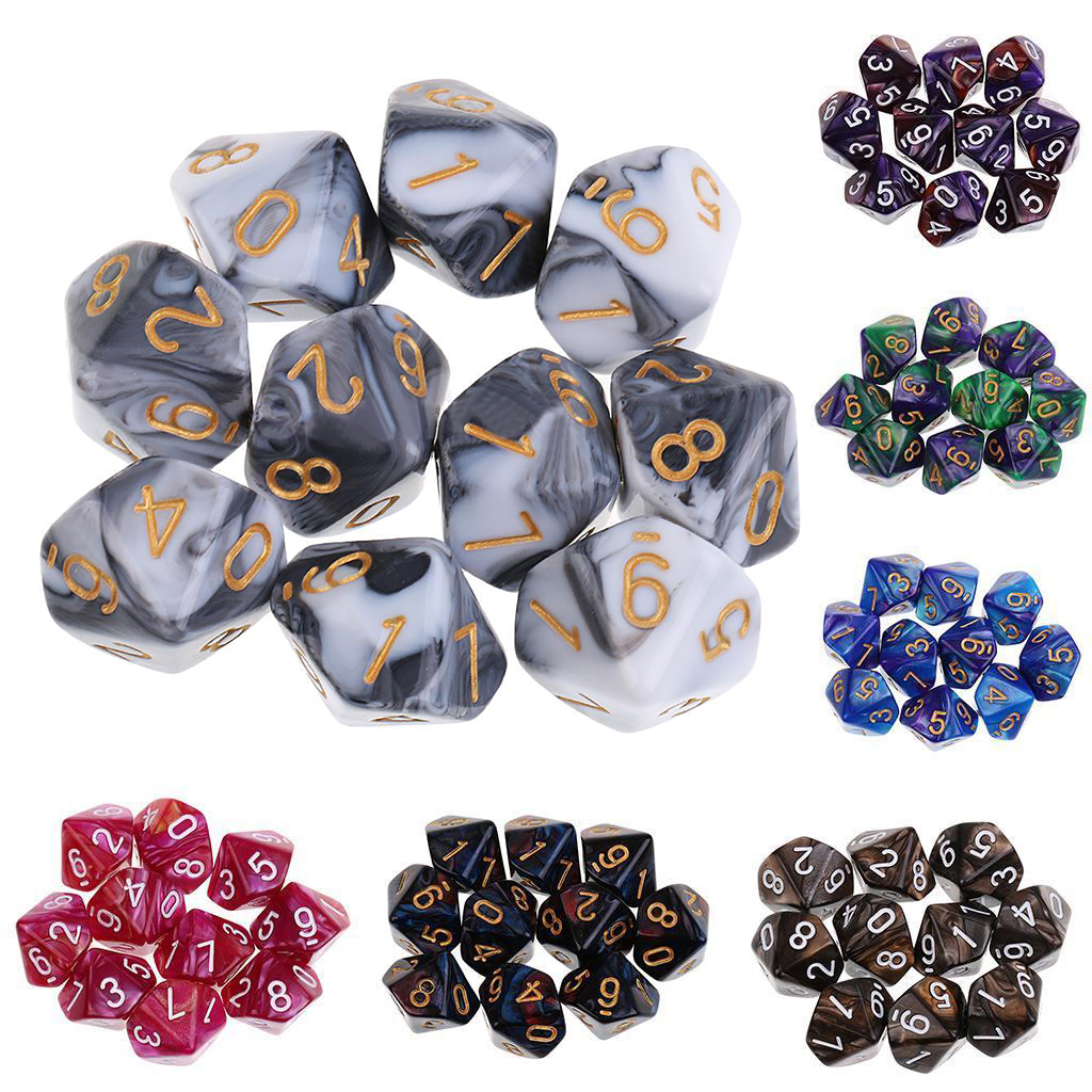 MAYITR 10PCS Hot Acrylic D10 Sided Dice Set Polyhedral Die For Dungeons and Dragons Games Dices Playing Game 7 Colors