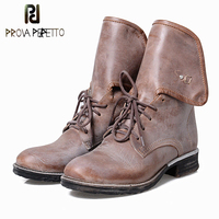Prova Perfetto Square Low Heel Round Toe Martin Boots Women Genuine Leather Lace Up Buckle Strap