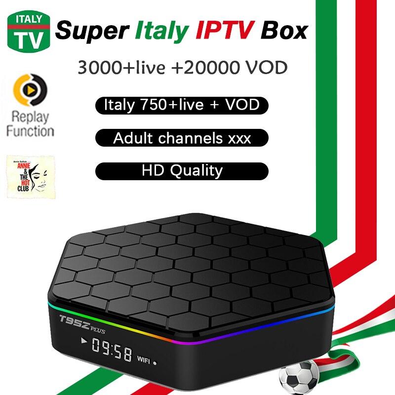 Italian IPTV T95Z Plus Amlogic S912 2G/16G H.265 Free Android TV Box italia m3u iptv Europe boxes Smart tv box Vod adult Play