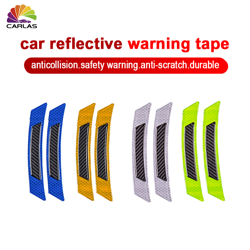 Image 3 - 2 Pieces/Pack Car Door Bumper Sticker Warning Safety Mark Anti Collision Auto Side Anti scratch Strip Car Reflective Strip-in Car Stickers from Automobiles & Motorcycles