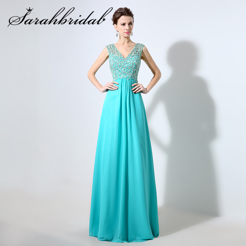 Vestidos De Fieata Beaded Chiffon Long Woman   Prom     Dresses   Party Gown Sexy V-Neck 2019 New Arrival Sepical Occasion   Dress   LX055
