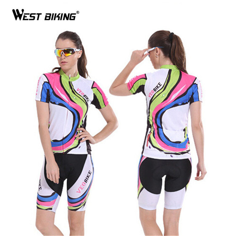 ФОТО Brand Veo Breathable Wicking Jersey Short-Sleeved Suit Women Bicycle Cycling Jersey Set with 3D Padded Shorts Bike Clothes Sets