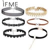 IF ME 6 PCS/Set Heart Crystal Tattoo Choker Necklace All-match 2 Layer Leather Velvet Choker Infinity Set Necklace Women Jewelry