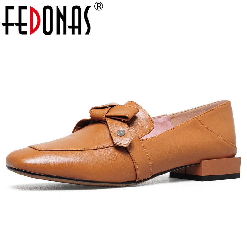 FEDONAS New 2019 Butterfly-Knot Wedding Party Shoes For Women Thick Heels Soft Genuine Leather Comfort Office Pumps Shoes WomanFEDONAS New 2019 Butterfly-Knot Wedding Party Shoes For Women Thick Heels Soft Genuine Leather Comfort Office Pumps Shoes Woman