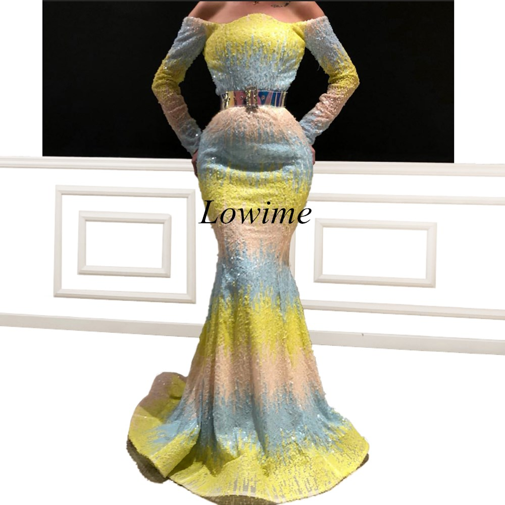 Popular Couture Arabic Long Prom Dresses 2019 Long Mermaid Off Shoulder Sequin Evening Prom Party Gowns With Sashes Vestido