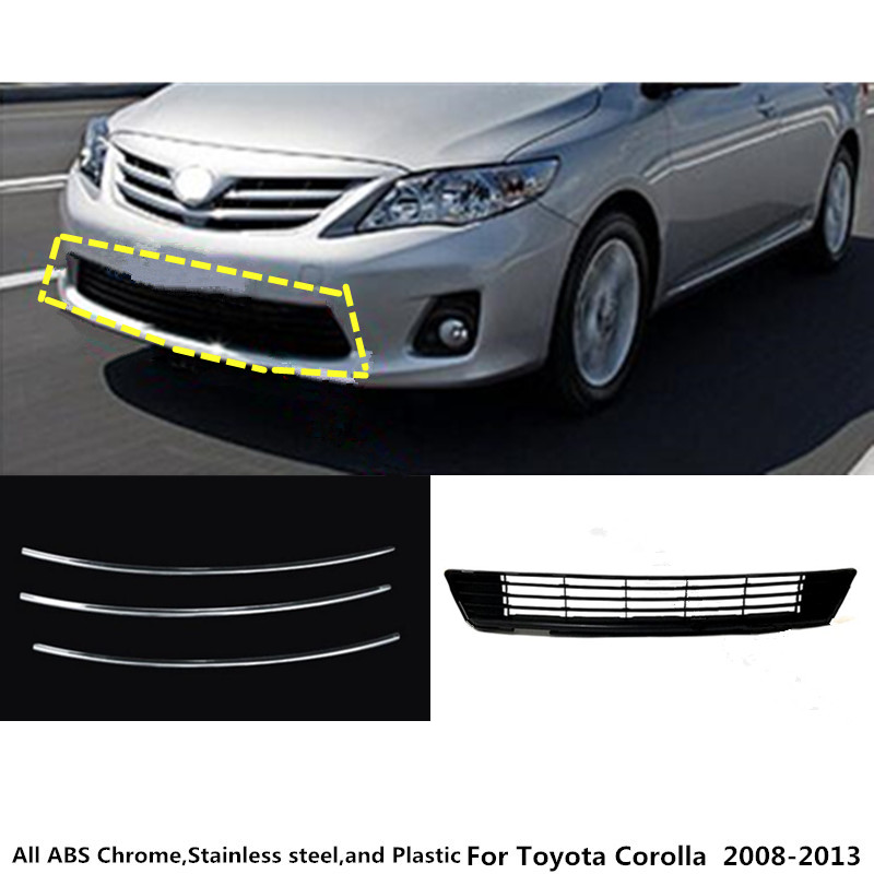 for Toyota Corolla Altis 2008 2009 2010 2011 2012 2013 car body License plate trim racing Grid Grill Grille hood panel frame for toyota corolla altis 2014 2015 2016 car body styling cover detector abs chrome trim front up grid grill grille hoods 1pcs