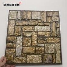 3D Ретро Кирпич каменный узор выбивает плитки стикер на стену удалены водонепроницаемые обои для ванной талии линия плитка ПВХ художественн...
