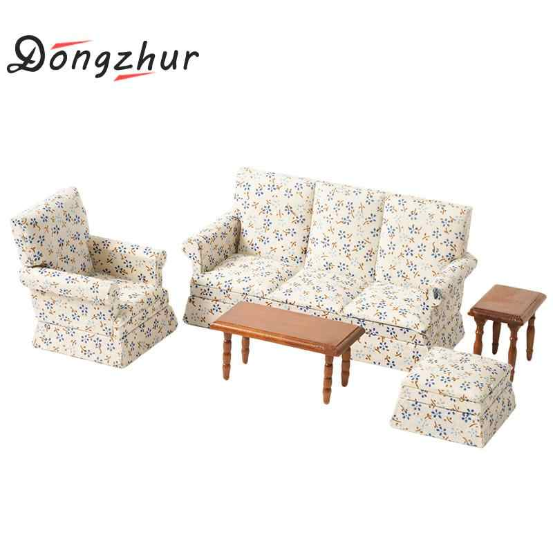 Flower Pattern 1:12 Dollhouse Sofa Miniature Dollhouse Furniture Poppenhuis Miniaturen 1:12 Diy Dollhouse Accessories Kit