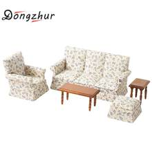 Flower Pattern 1:12 Dollhouse Sofa Miniature Dollhouse Furniture Poppenhuis Miniaturen 1:12 Diy Dollhouse Accessories Kit(China)
