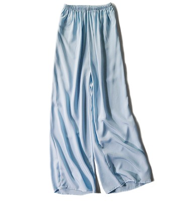 Casual Nueve Amplia Cintura Polvo 2019 Beige De En Cuero Pantalones Pierna Seda Suelta Minutos pYqBBxS