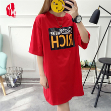 Women Spring Summer Loose Oversized Dress Short Sleeve Letter T-Shirt Dress Casual O Neck cotton Dresses White Black Red XXL women spring summer loose oversized dress short sleeve letter t shirt dress casual o neck cotton dresses white black red xxl