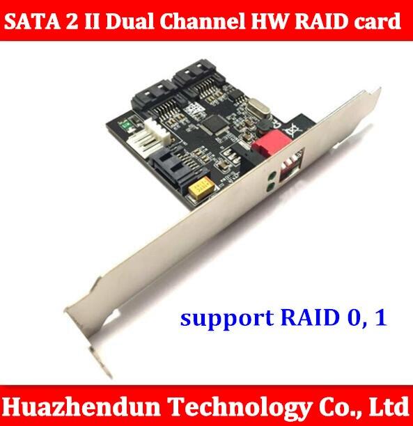 New 2 Ports Internal SATA 2 II Dual Channel HW RAID card support RAID0, 1 0/1 Card