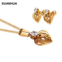 XUANHUA Fashion Stainless Steel Jewelry Sets For Women Zirconia Heart Necklace And Earing Set Indian Jewelry Set Wedding