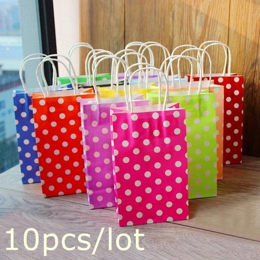 Polka dot kraft paper bag & Festival gift package, Fashionable gift paper bag, 21X13X8cm 10pcs/lot