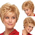 women highlights heat resistant synthetic wigs curly short blonde wig with bangs gold wig cosplay blond wigs of natural hair