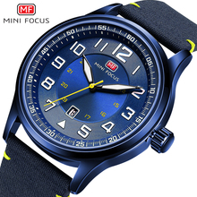 MINI FOCUS Military Marine Men Quartz Watch Ocean Blue Nylon Strap 3D Index Design Arabic Number Calendar Fashion Wrist Watches
