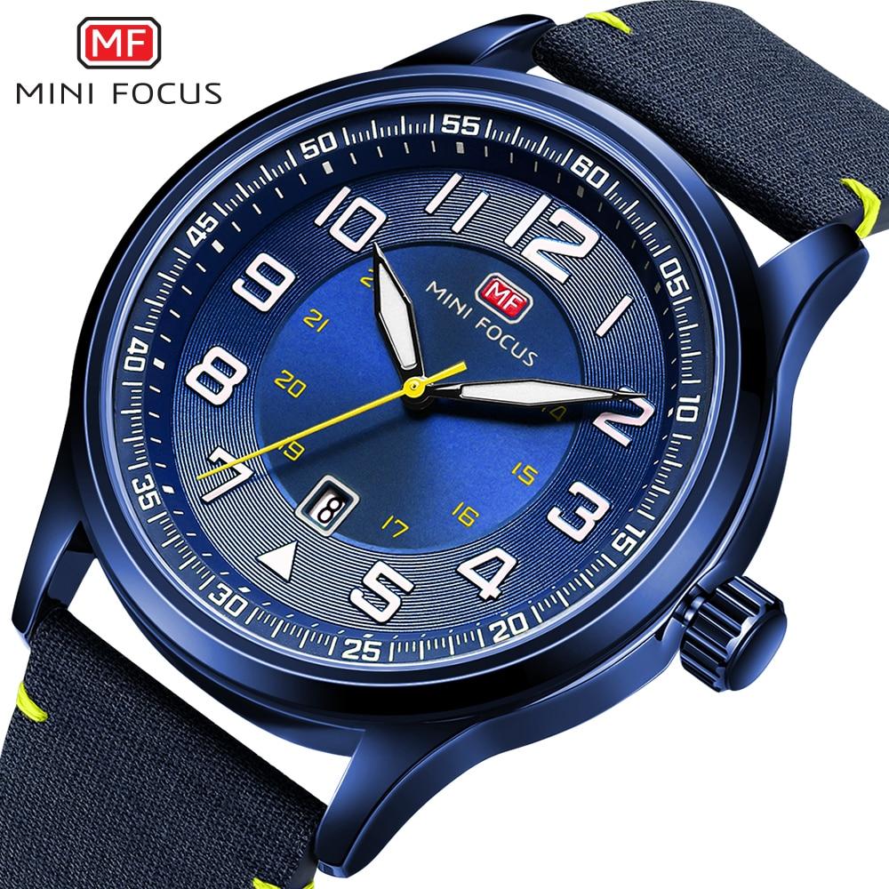 MINI FOCUS Military Mens Watches Marine Quartz Watch Ocean Blue Nylon Strap 3D Index Design Auto Date Fashion Relogio Masculino-in Quartz Watches from Watches