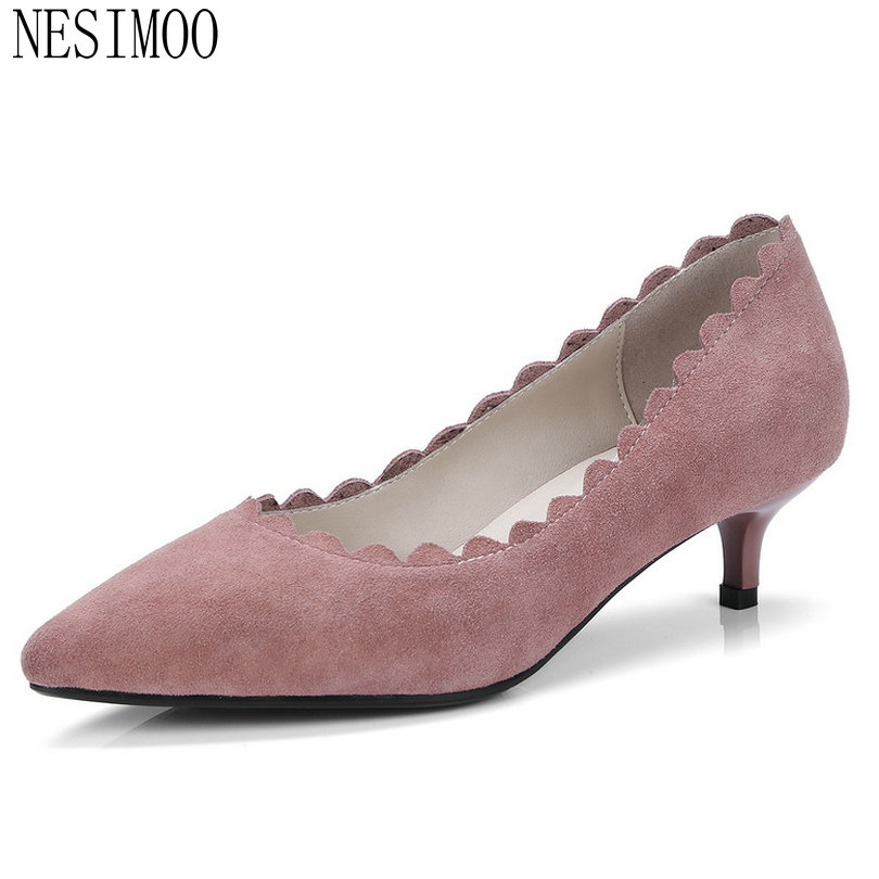 NESIMOO 2018 Women Pumps Casual Cow Suede Fashion Thin Heel Pointed Toe All Match Pink Cute Slip on Ladies Pumps Size 34-41