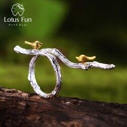 Lotus Fun-bague ajustable pour femmes, Bijoux fins originaux faits à la main, en argent Sterling 925, bague ajustable en or 18K sur les branches pour femmes