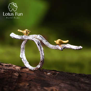 Lotus Fun Real 925 Sterling Silver Original Handmade Fine Jewelry Adjustable Ring 18K Gold Bird on Branch Rings for Women Bijoux - DISCOUNT ITEM  57% OFF All Category