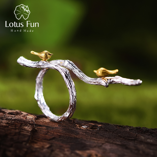 Lotus Fun Real 925 Sterling Silver Original Handmade Fine Jewelry Adjustable Ring 18K Gold Bird on Branch Rings for Women Bijoux 1