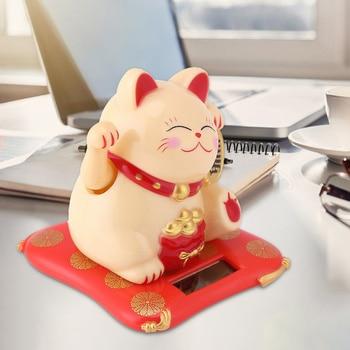 Fashion Black/White Solar Powered Maneki Neko Welcoming Fortune Cat Lucky for Home Car Hotel Restaurant Decoration Craft 1
