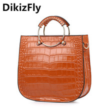 DikizFly Genuine Leather bags women messenger bags Alligator Handbags Vintage Totes Shoulder bags circular handle women bag
